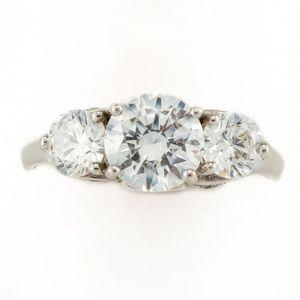 Diamonique Past Present Future 925 Bridal Ring